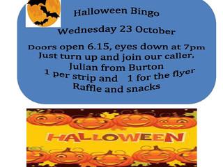 Halloween Bingo Wednesday 23 October