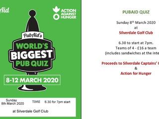 PubAid Quiz is this Sunday 8 March