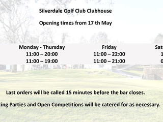 Our Clubhouse Restaurant and Bar opens on 17 May