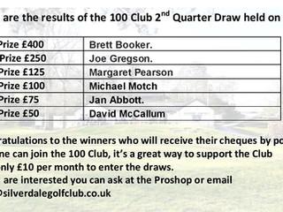 100 Club 2nd Quarter Draw