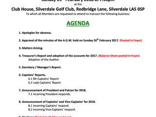 Agenda for AGM Sun 25 Feb 7:30 pm
