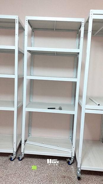 H910129 白色角鋼+冰島白橡 封孔柱 吊衣桿 窗簾桿 輪架組_191129