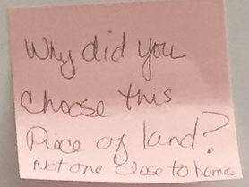 Sticky note questions from the October 15th Neighborhood Meeting