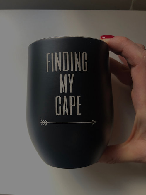 Black Finding My Cape Stainless Steel Cup With Lid