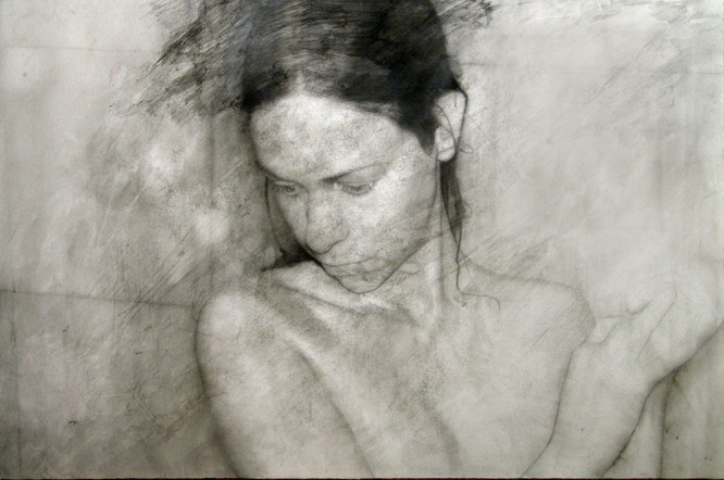 """Shadow   Graphite and charcoal on paper glued to board 38""""x41"""" / 76x102cm 2009"""