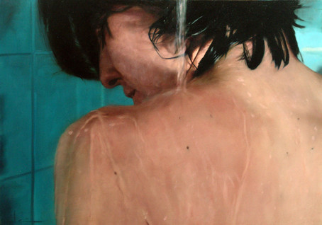 "Water and skin series Nº4 Oil on board  26""x 32"" / 65x81cm 2007 Private colletion Spain"