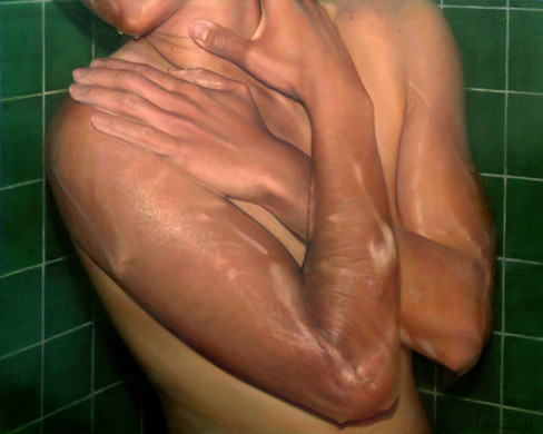 "Hands and shoulder series Nº6 Oil on board 26""x32"" / 65x81cm 2006 Private colletion Russia"
