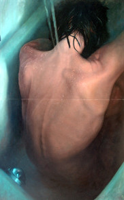 "Water and skin Nº1 Oil on board dyptich 80""x49"" / 200x122cm 2007 Private collection Spain"