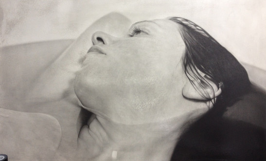 """Female Portrait Nº2 Graphite and charcoal on paper glued to board 25""""x40""""  / 62x100cm 2015"""