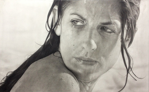 "Female Portrait Nº1 Graphite and charcoal on paper glued to board 25""x40"" / 62x100cm 2020"