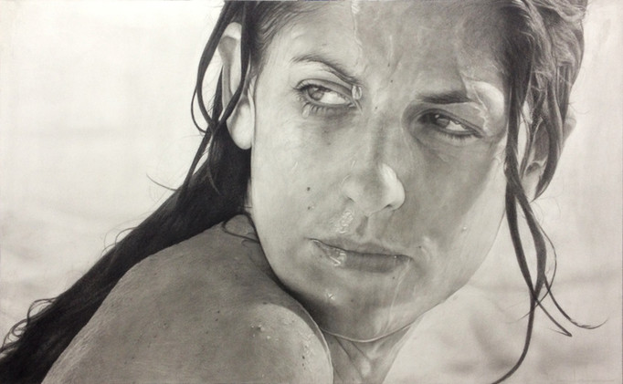 """Female Portrait Nº1 Graphite and charcoal on paper glued to board 25""""x40"""" / 62x100cm 2020"""