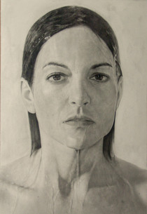 "Portrait Nº9  Graphite and charcoal on paper glued to board 46"" x 30"" / 116x76cm 2013"