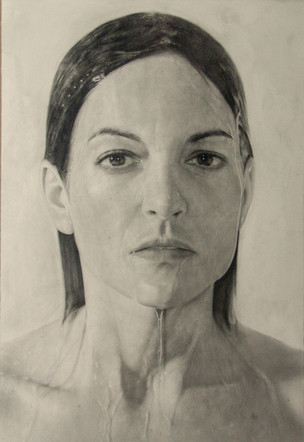 """Portrait Nº9  Graphite and charcoal on paper glued to board 46"""" x 30"""" / 116x76cm 2013"""