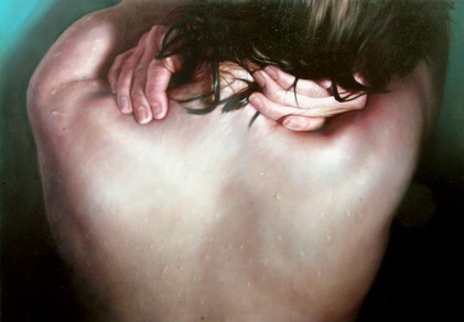 "Water and skin series Nº3 Oil on board 23""x33"" / 57x81cm 2006 Private colletion Spain"