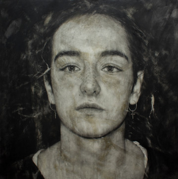 "Portrait Nº17  Graphite and charcoal on paper glued to board 40""x40"" / 100x100cm  2020 Private collection Spain"