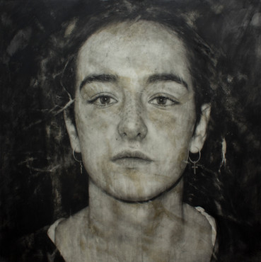 """Portrait Nº17  Graphite and charcoal on paper glued to board 40""""x40"""" / 100x100cm  2020 Private collection Spain"""