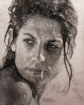 "Portrait Nº13 Graphite and charcoal on paper glued to board 60""x48"" / 150x120cm 2019"