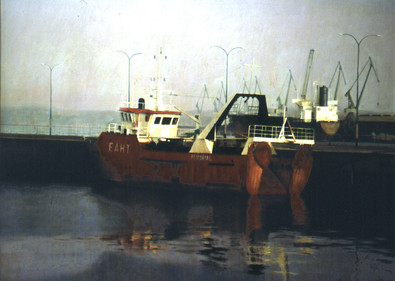 """Boat at Port  Oil on board  35""""x46"""" / 89x116cm  2000 Artist's Collection"""
