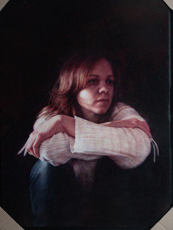 """Portrait with White Shirt 40""""x29"""" / 100x72cm Oil on board  2010"""