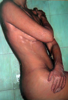 """Soap and shower  Oil on board  40""""x28"""" / 100x70cm 2006 Private collection USA"""