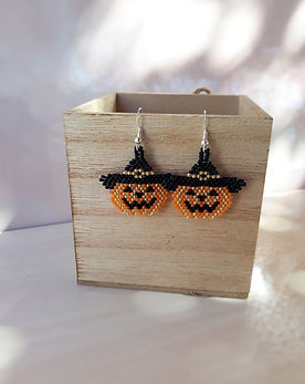 pumpkin halloween earrings Eni Macrame Bijou Handmad Jewelry Cabochons and Supplies Cyprus Larnaca Unique Handcrafted Macrame Beaded Polymer Clay Free Delivery Bracelet Earrings Necklace Rings