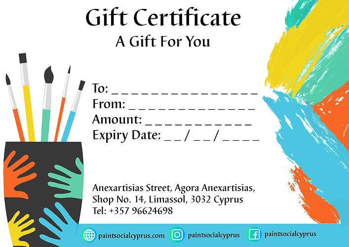 Paint Social Cyprus Limassol Paint Your Own Pottery Kids and Adults Gift Certificate