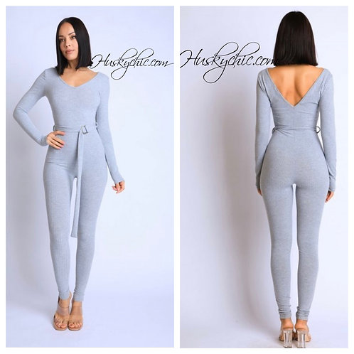 GRAY STANCE RIBBED JUMPSUIT