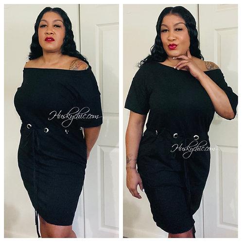 BLACK DRAWSTRING SHOULDER DRESS