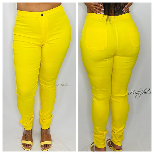 PLUS YELLOW HIGH WAISTED PANTS