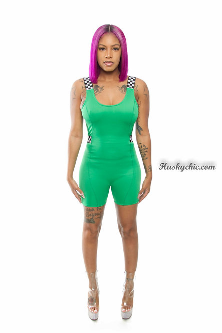 SOLID GREEN BIKE SHORTS ROMPER