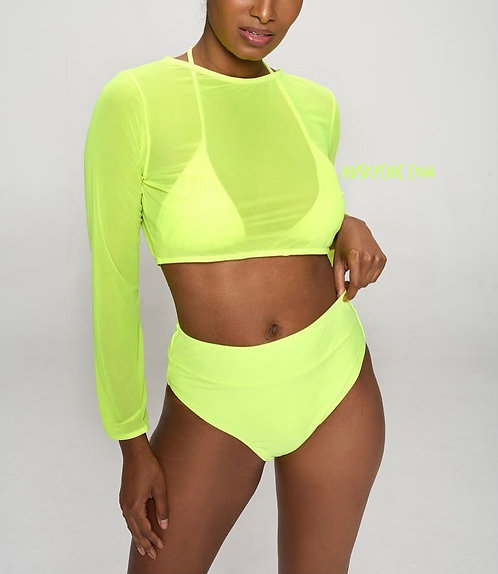 3PC NEON GREEN BEACHY SWIMSET