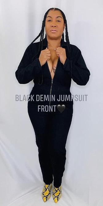 BLACK DENIM JUMPSUIT