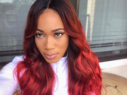 Brazilian Body Wave Ombre Red 24inch Unit