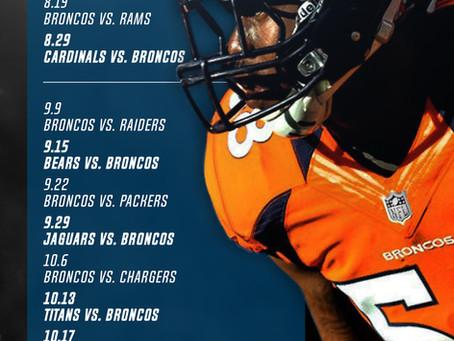Denver Broncos 2019 - 2020 Football Schedule - Madison & Company Properties