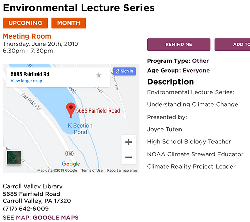 Carroll Valley Libary climate change tal