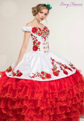 Vestido Charro de Quinceanera Blanco con Rojo