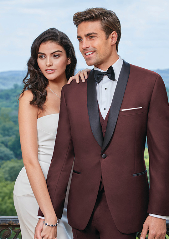 Burgundy Camden Slim Fit Tux