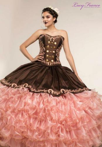 Vestido Charro de Quinceanera Rosa con Café