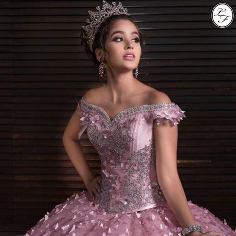 Vestido de Quinceanera Rosa Palo