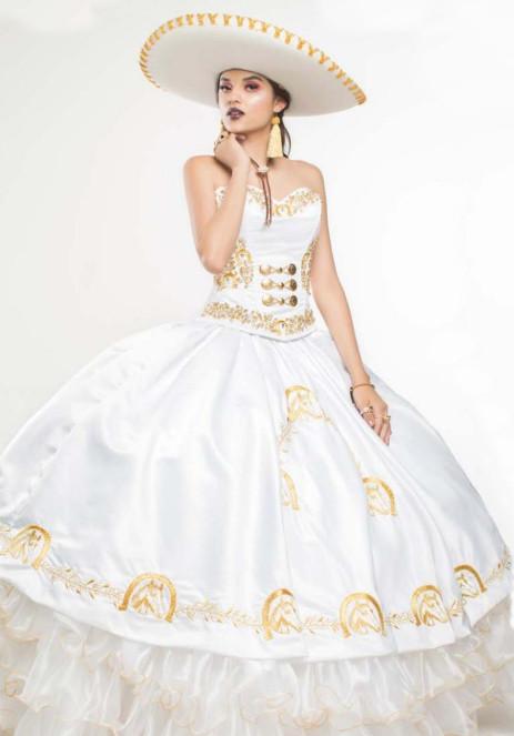 Vestido Charro de Quinceanera Blanco con Dorado