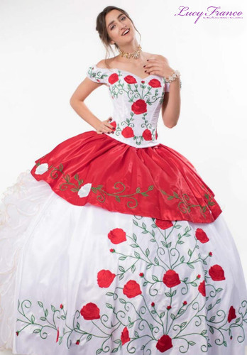 Vestido Charro de Quinceanera Rojo con Blanco