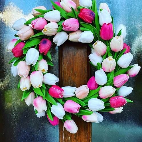 Pink and White Faux Tulip Wreath - Handmade