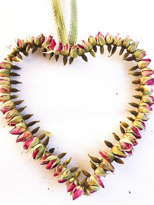 Gorgeous Dried Rosebud Heart - Handmade