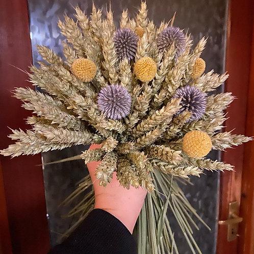 Wheat, Craspedia and Echinops Bouquet - Handtied