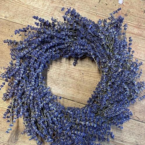 Round Dried Lavender Wreath - Handmade