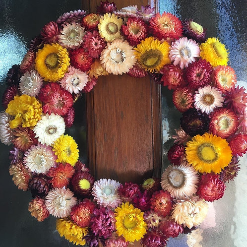Dried Helichrysum Wreath - Handmade