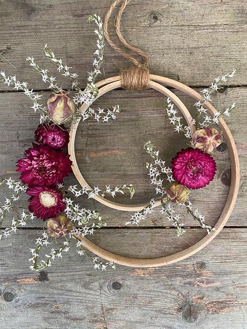Pretty Dried Flower Hoop - Handmade