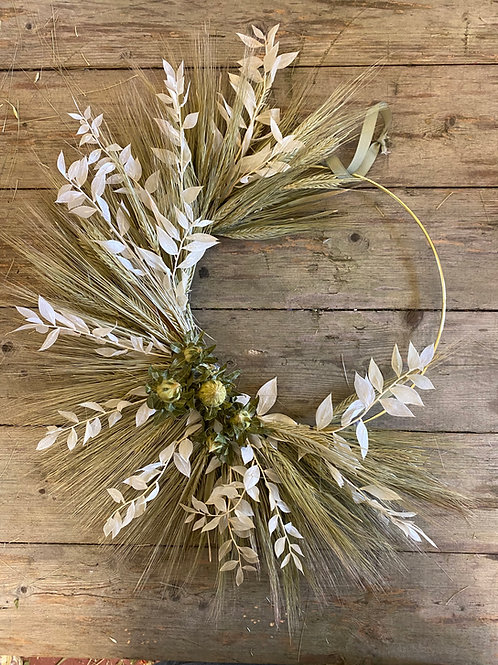 Barley, Ruscus and varying colour accents Wreath - Handmade