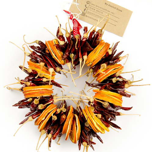 Dried Chilli and Orange Wreath