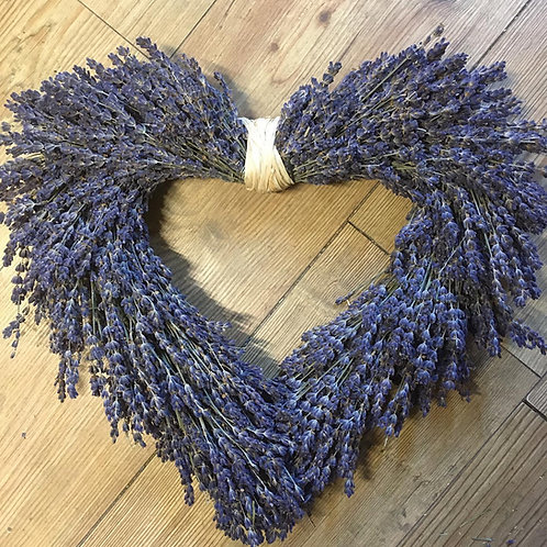 Dried Lavender Heart Wreath - Handmade